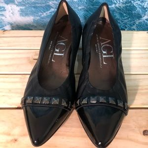 AGL block heel with silver studs shoes